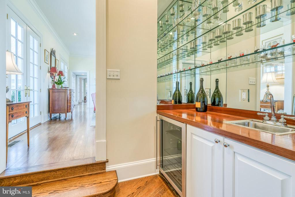 Wet Bar w/beverage refrigerator; mahogany counter - 2200 GADD RD, COCKEYSVILLE