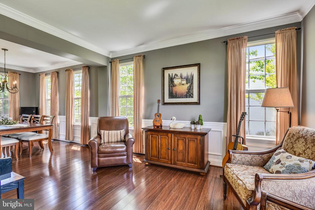 Living rm w/hardwood floors, wainscoting & crown - 732 HUNTON PL NE, LEESBURG