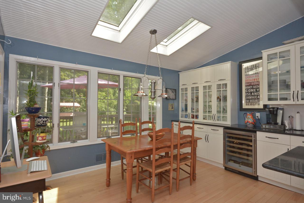 Breakfast room with added cabinets.