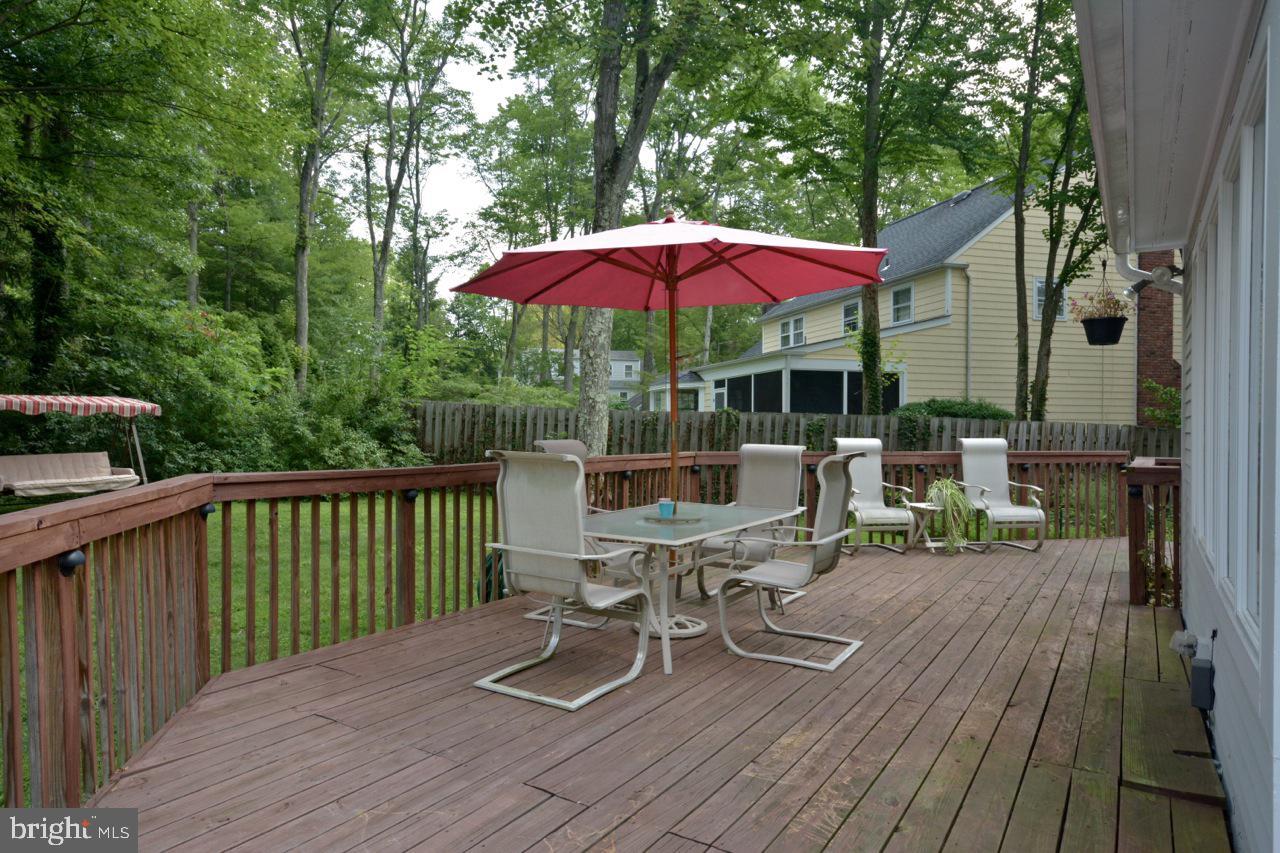 Deck overlooking backyard.