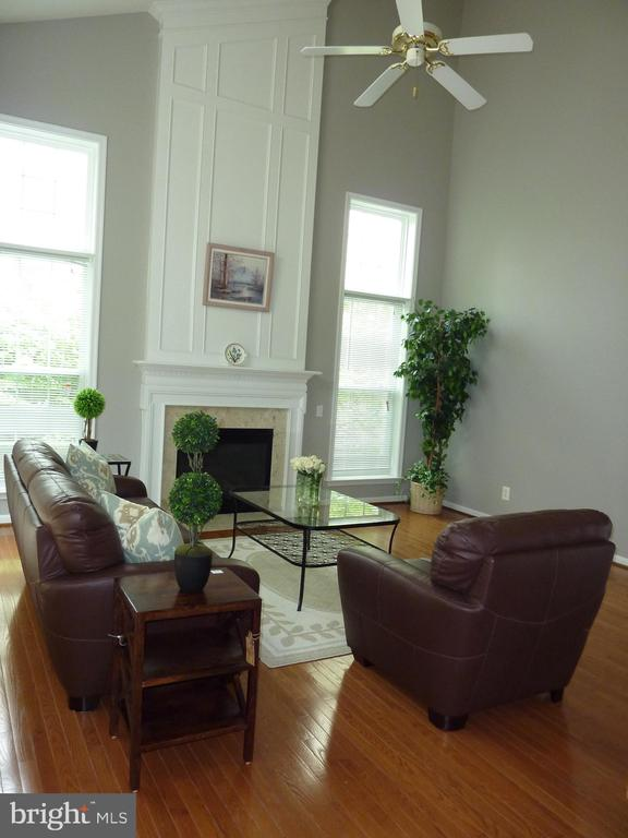 Family Room with Ceiling Fan and Fireplace - 5322 SAMMIE KAY LN, CENTREVILLE