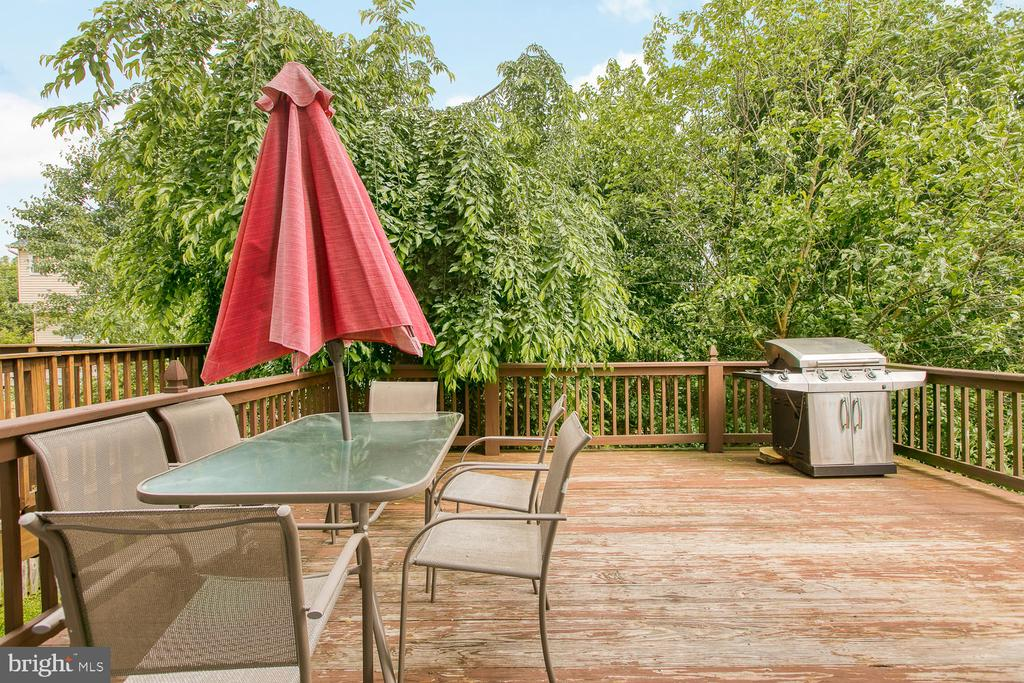 Nice deck surrounded by trees for privacy - 606 FALKIRK CT, FREDERICKSBURG