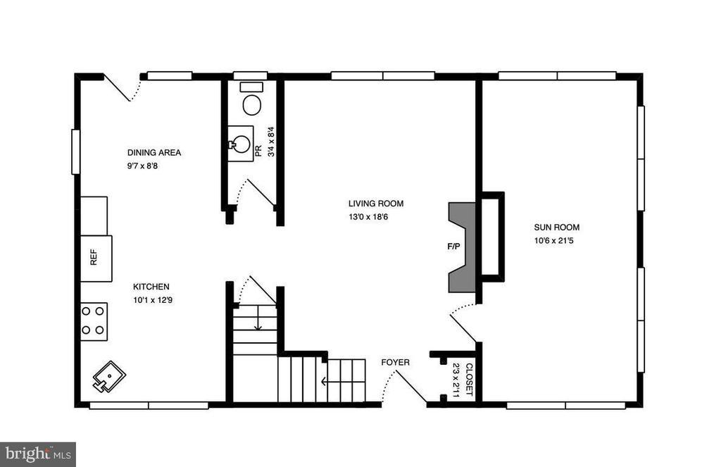 Floor Plan Main Level - 3119 LAKE AVE, CHEVERLY