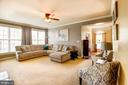 Family room with ceiling fan and tons of windows - 16800 ANCHOR BEND CIR, WOODBRIDGE