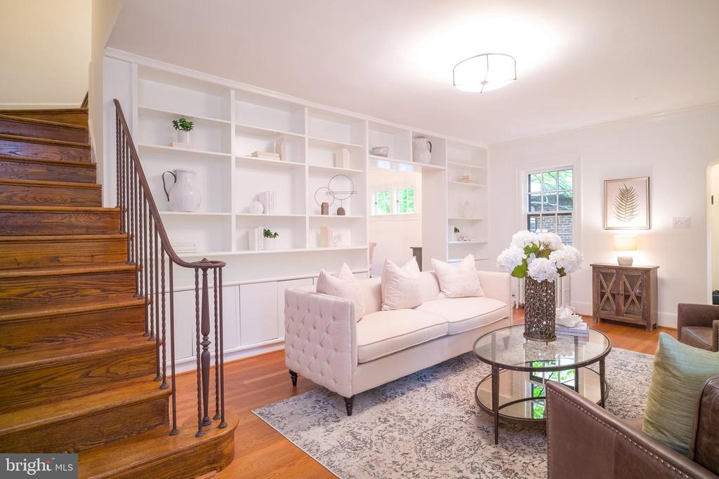 Stairs to upper level in living room - 3631 VAN NESS ST NW, WASHINGTON