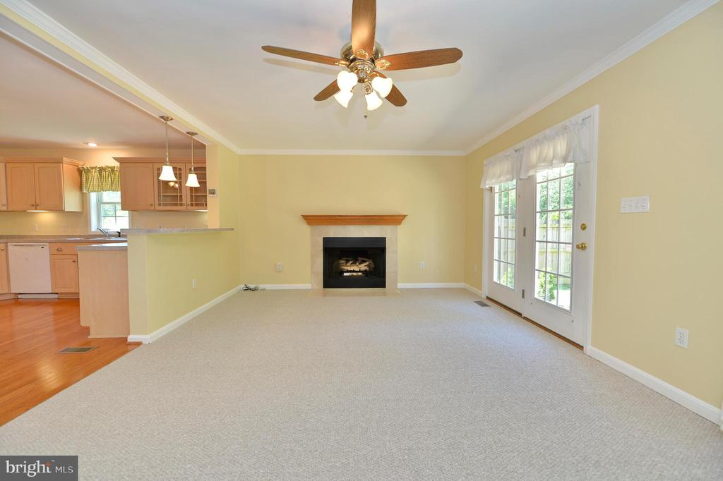Family room with gas fireplace and ceiling fan - 20257 REDROSE DR, STERLING