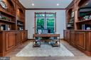Executive office with custom built cabinets. - 10630 TIMBERIDGE RD, FAIRFAX STATION