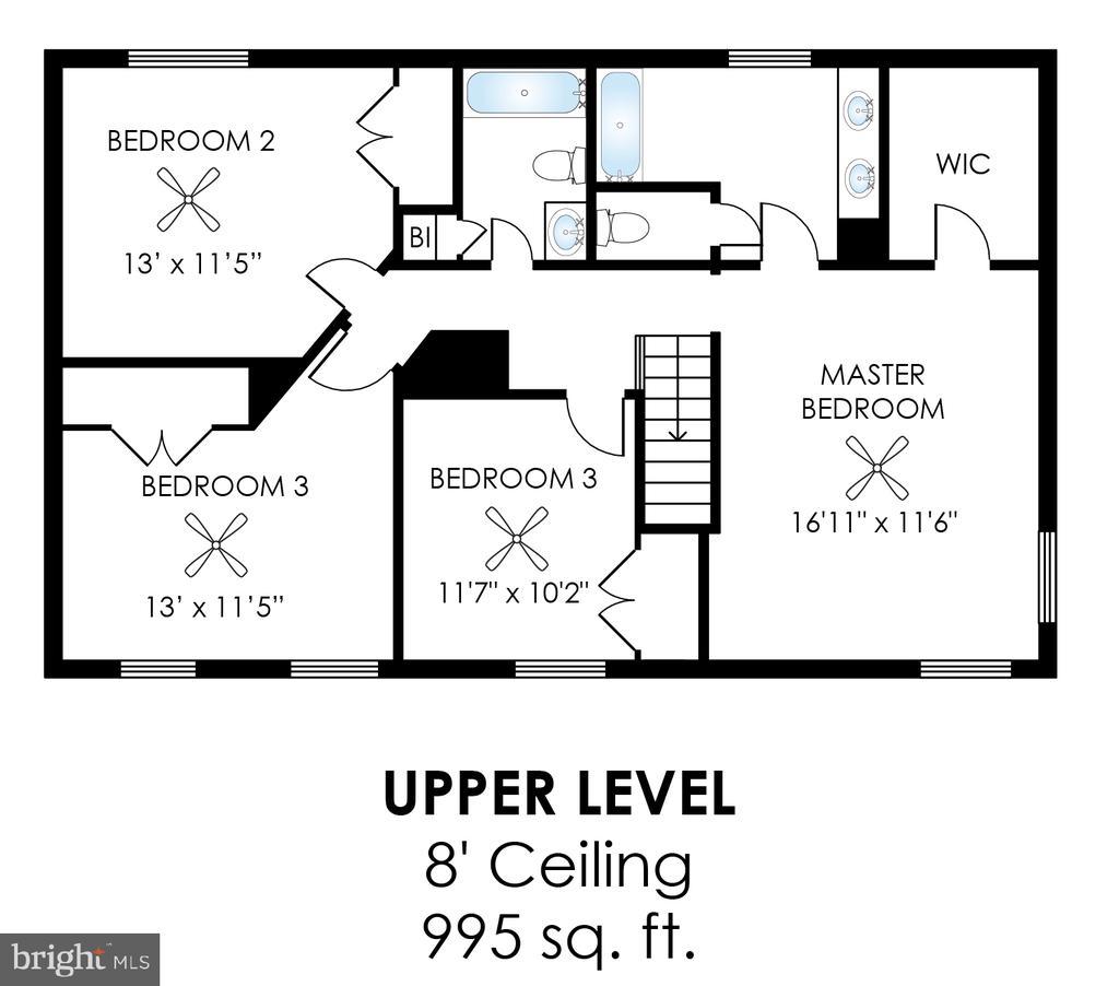 Upper Level Floor Plan - 20816 WATERBEACH PL, STERLING