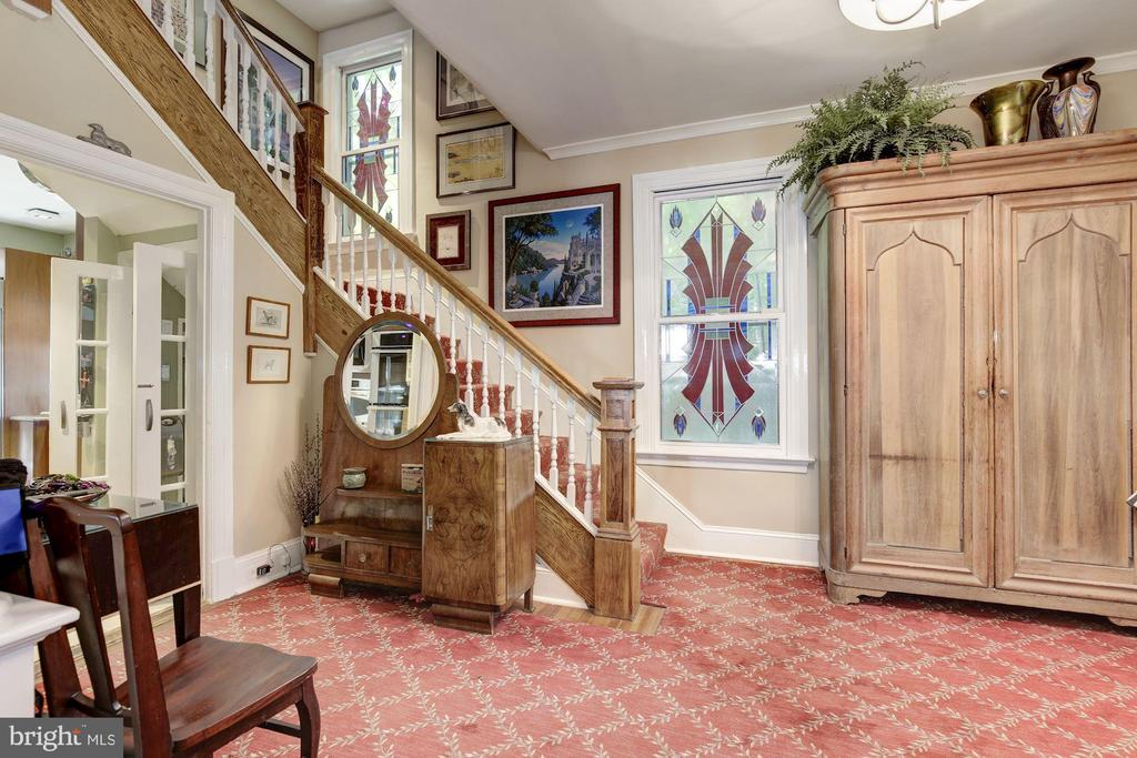 Entry Foyer with Commissioned Stained-glass Window - 426 RITTENHOUSE ST NW, WASHINGTON