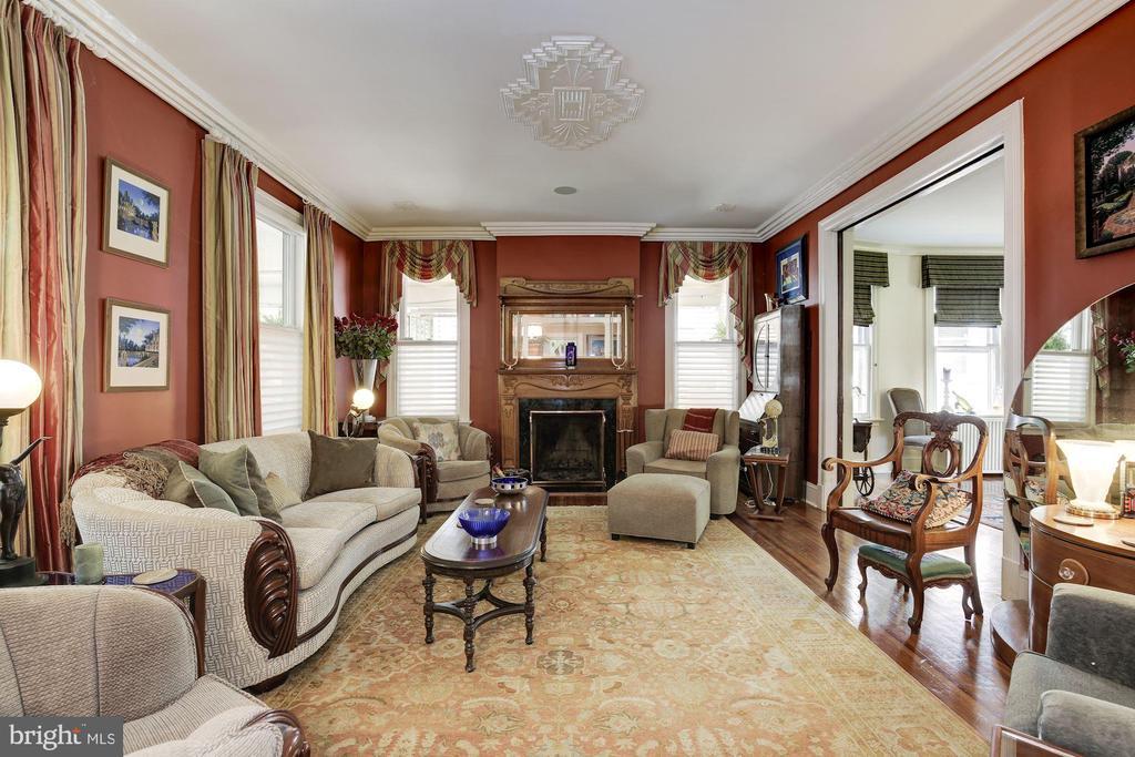 Living Room with Wood-Burning Fireplace - 426 RITTENHOUSE ST NW, WASHINGTON