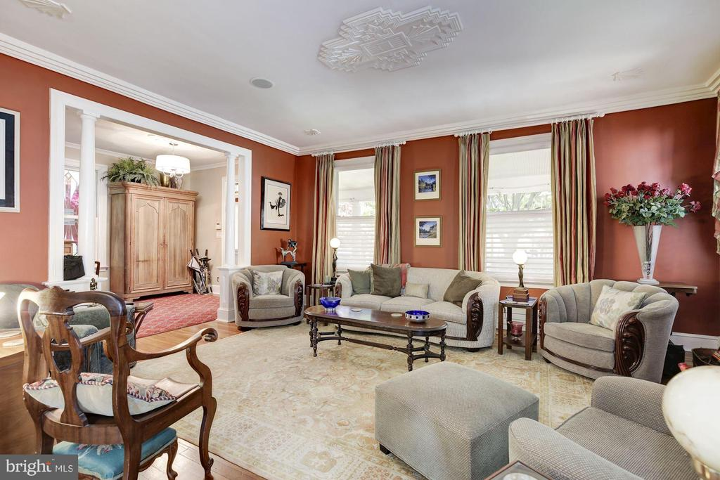 Living Room with Art Deco Ceiling - 426 RITTENHOUSE ST NW, WASHINGTON