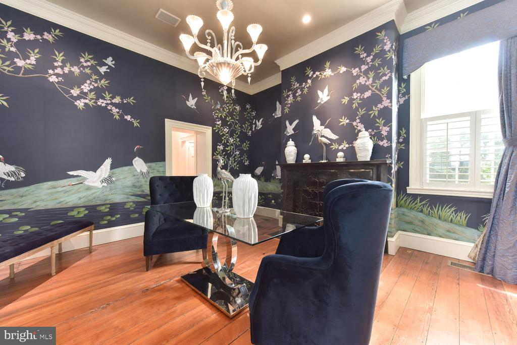 Dramatic dining room with hand painted wall paper - 329 WASHINGTON ST N, ALEXANDRIA