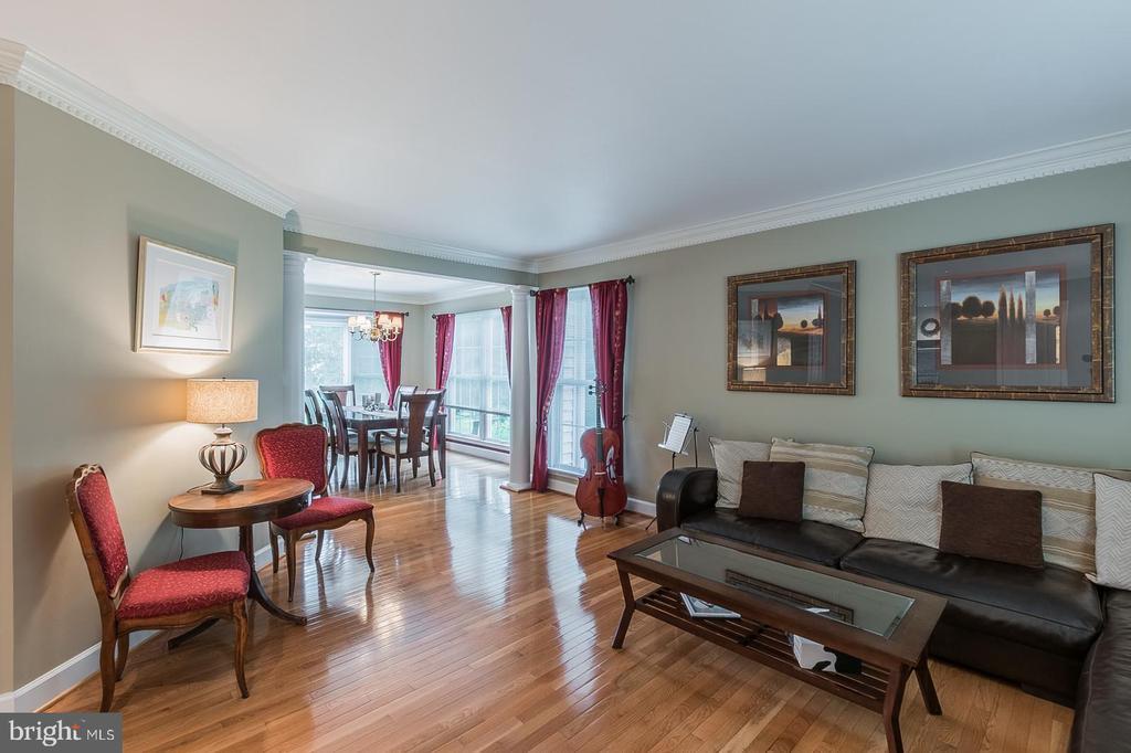 Living Room with gorgeous hardwood floors. - 20888 FOWLERS MILL CIR, ASHBURN