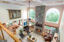 UL VIEW OF FR~W/ COFFERED CEILING, FAN, STONE F/P. - 19676 PLAYER CT, ASHBURN