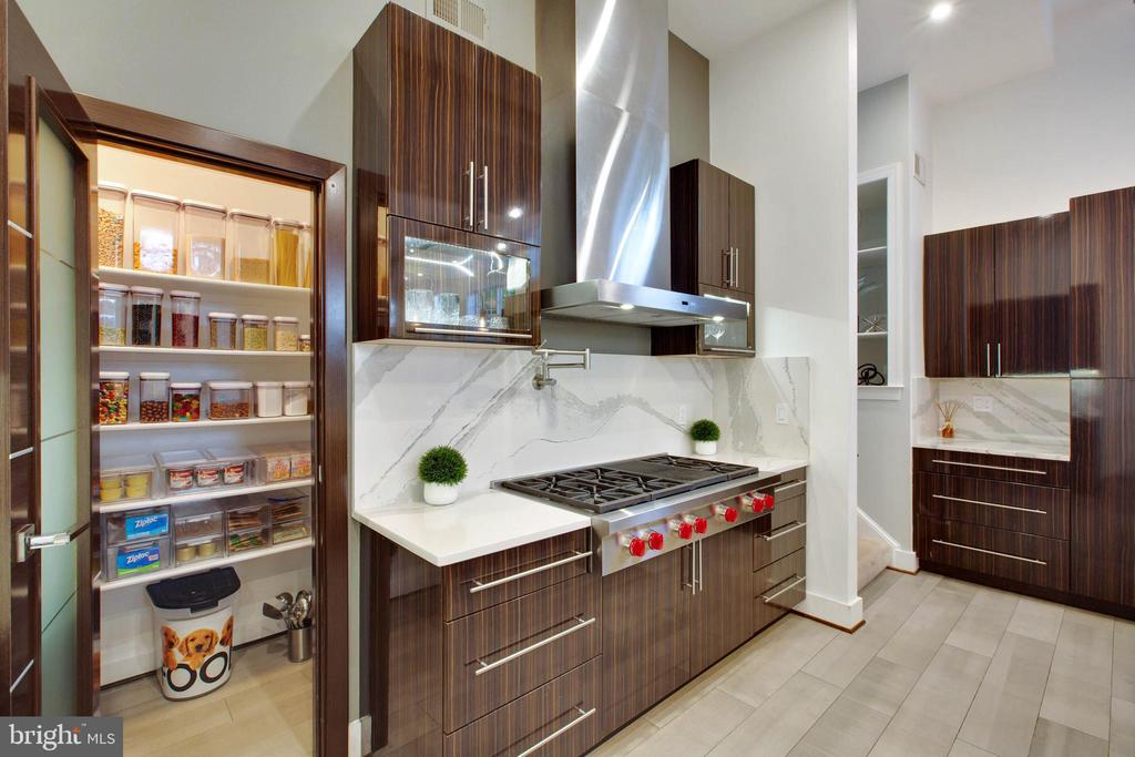 Chef Kitchen w/8 Burner Wolf Cooktop & Pantry - 18184 SHINNIECOCK HILLS PL, LEESBURG