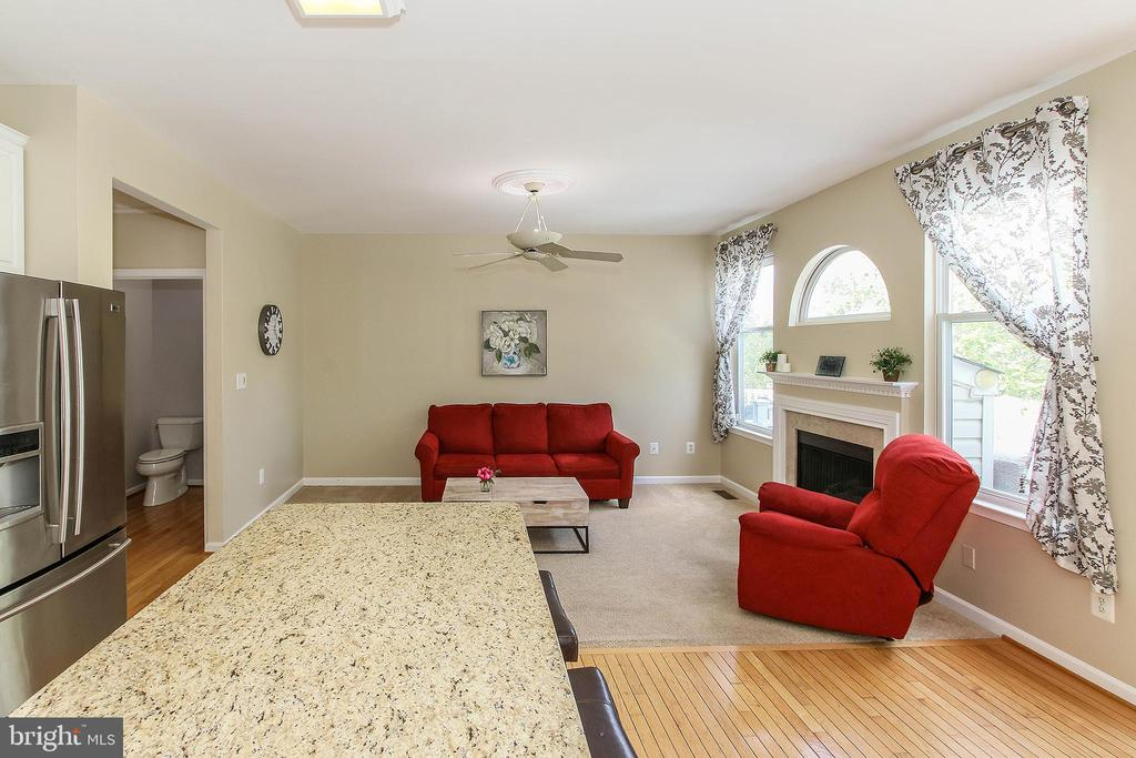 Family Room with Inviting Fireplace off Kitchen - 21344 SAWYER SQ, ASHBURN