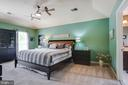 Master bedroom with tray ceiling and fan - 21372 SMALL BRANCH PL, BROADLANDS
