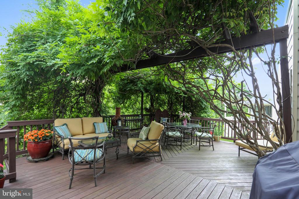 Grotto-inspired deck with pergola - 11 CLIMBING ROSE CT, ROCKVILLE