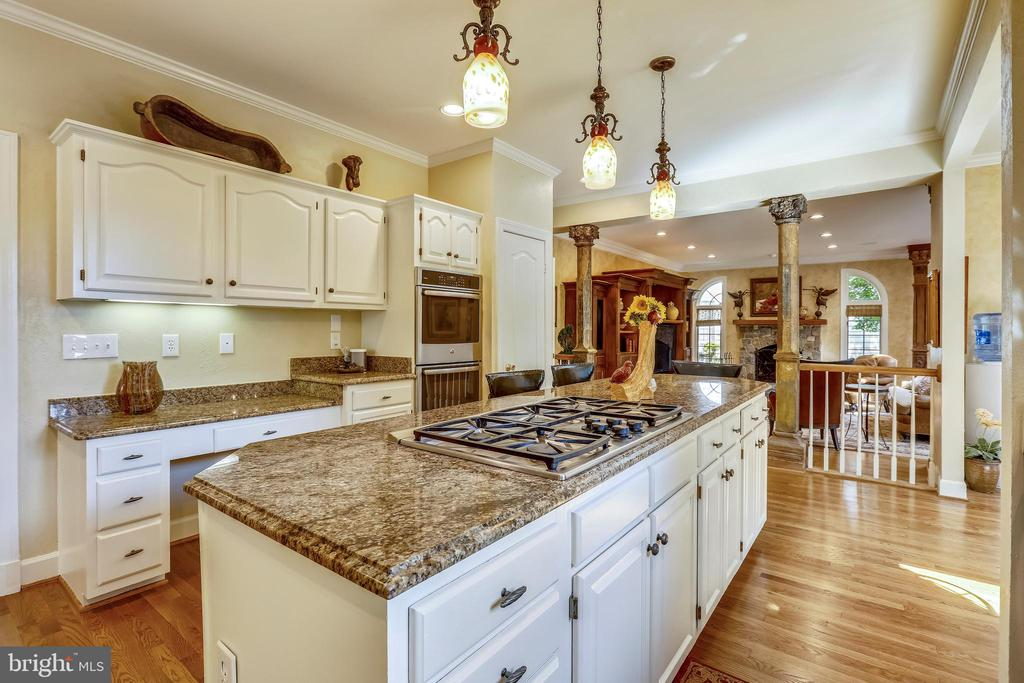 Kitchen with granite center island and gas cooktop - 11 CLIMBING ROSE CT, ROCKVILLE
