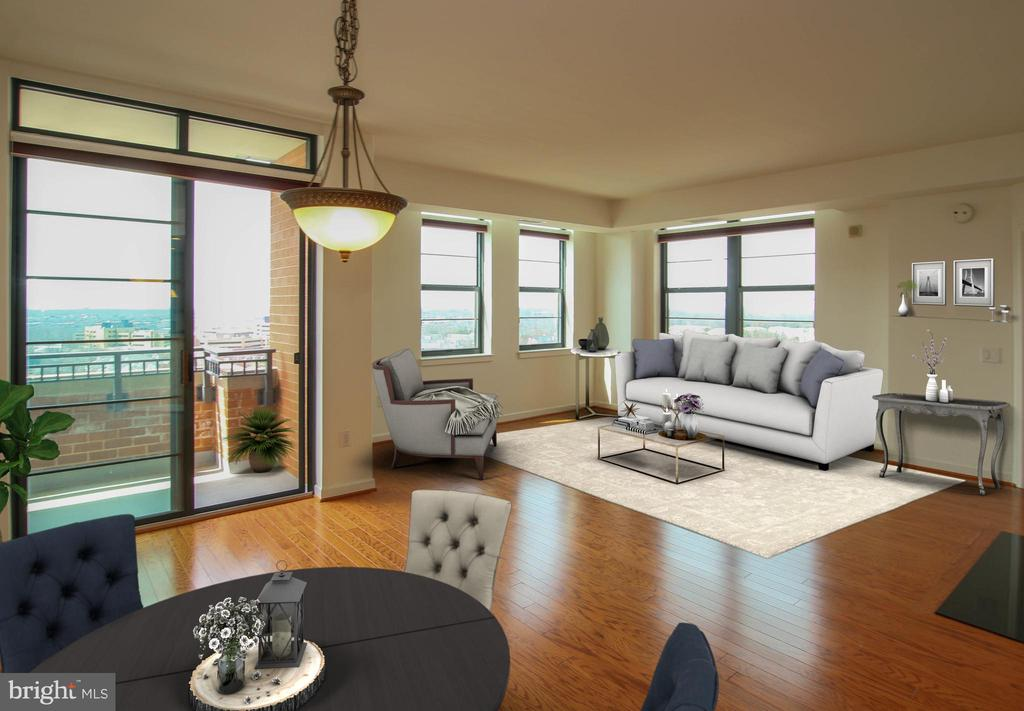 Combined Living/dining room with balcony access - 1830 FOUNTAIN DR #1001, RESTON
