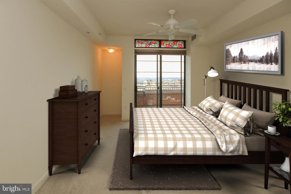 Guest  bedroom offers 2nd balcony access - 1830 FOUNTAIN DR #1001, RESTON