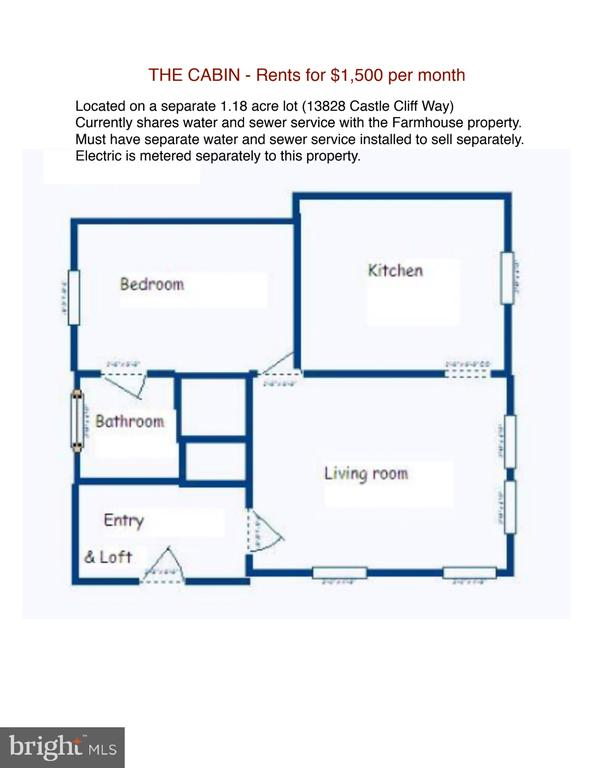 The Cabin Floor Plan  (on a separate 1.18 acre lot - 13830-13826 CASTLE CLIFF WAY, SILVER SPRING