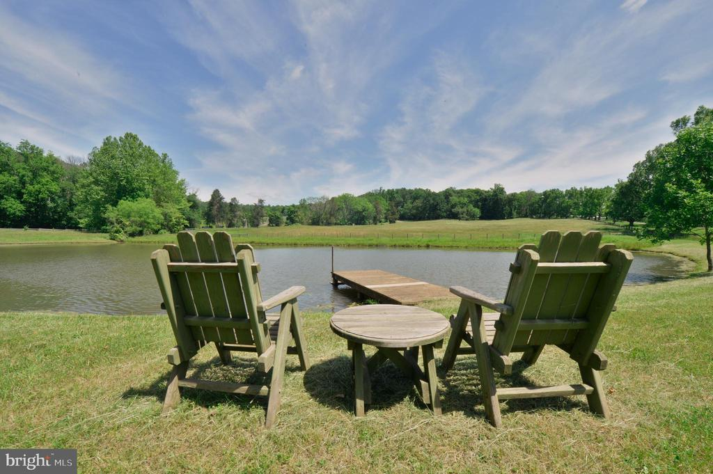 Picturesque pond with seating area - 8362 HOLTZCLAW RD, WARRENTON