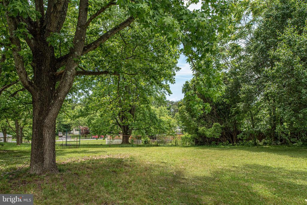 View tree line and partially fenced yard - 146 WINEWOOD DR, LOCUST GROVE