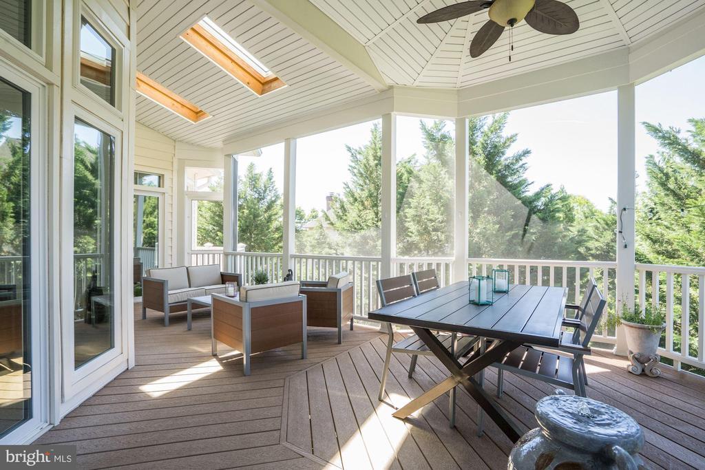 Lofty screened porch with skylights, ceiling fan - 43705 MAHOGANY RUN CT, LEESBURG