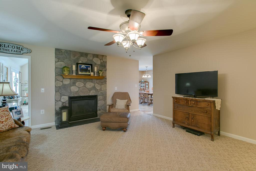 Family room with stone fireplace - 9315 PAIGE RD, WOODFORD