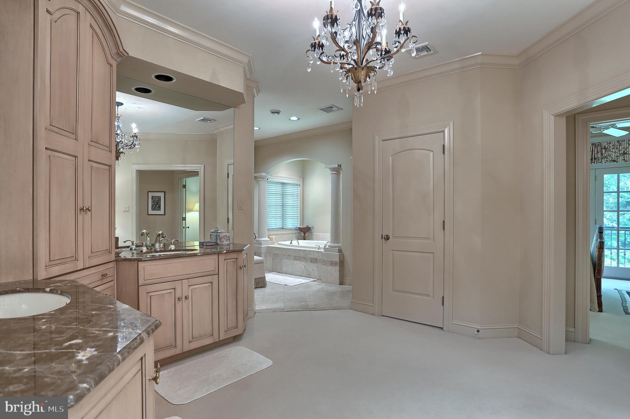 Looking toward bath/shower area from vanity area