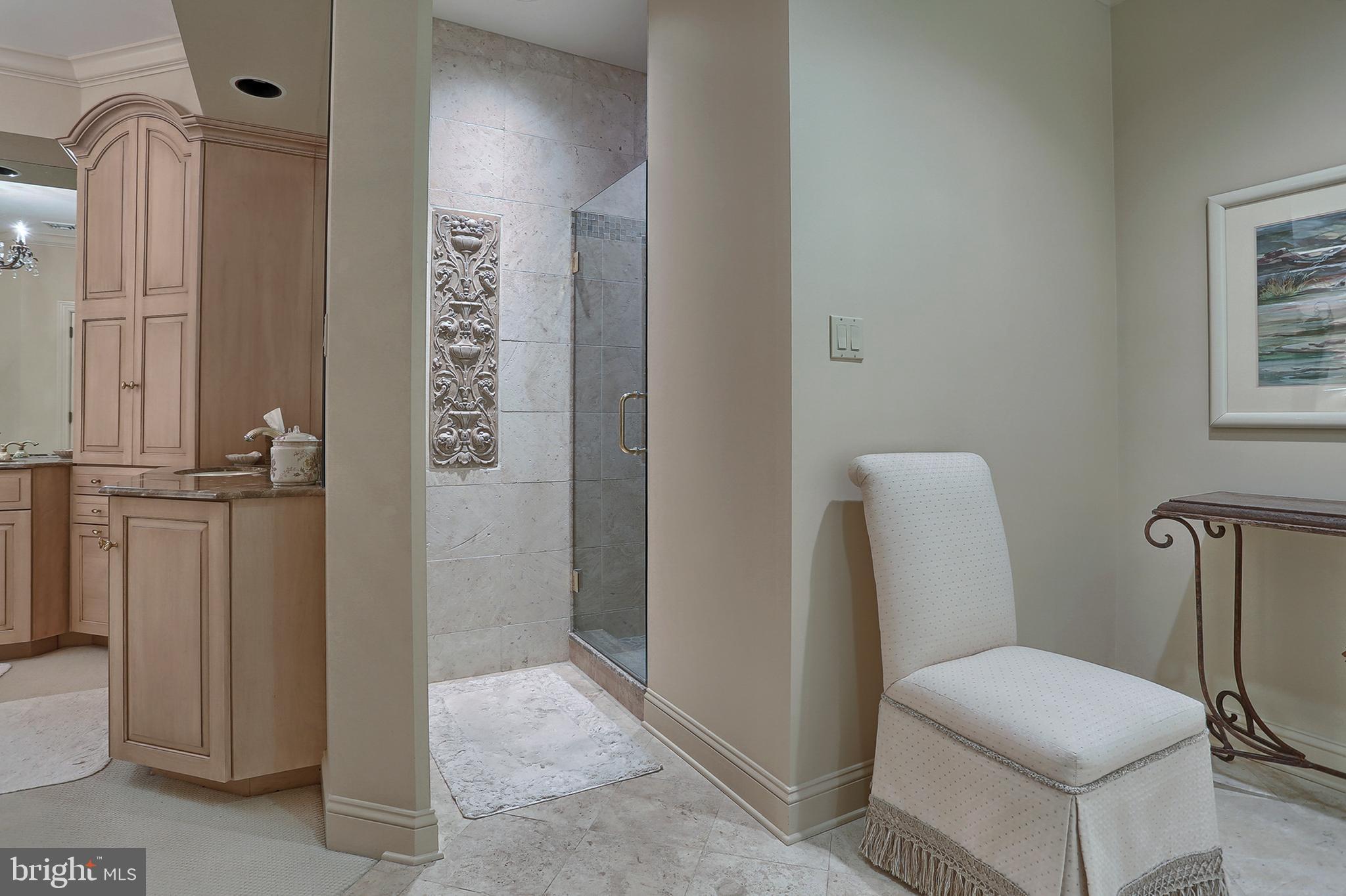 Looking toward walk-in shower area