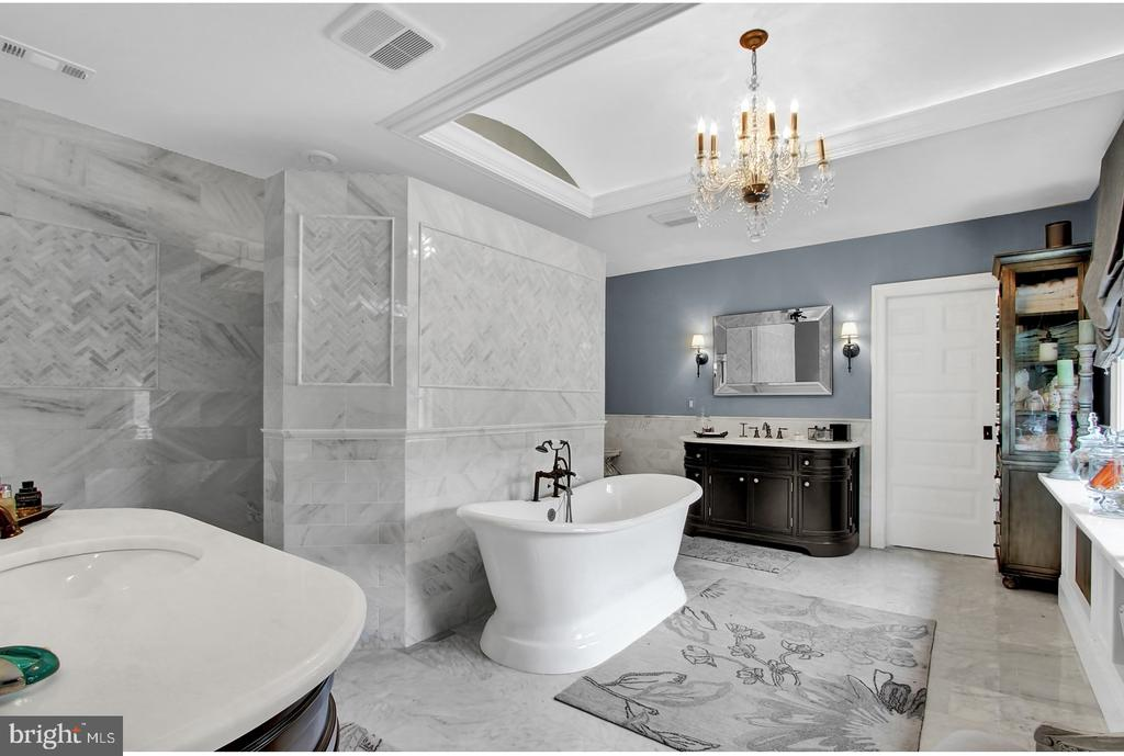 SPA WHITE MARBLE BATH WITH SEPARATE TUB AND SHOWER - 1848 CIRCLE RD, TOWSON