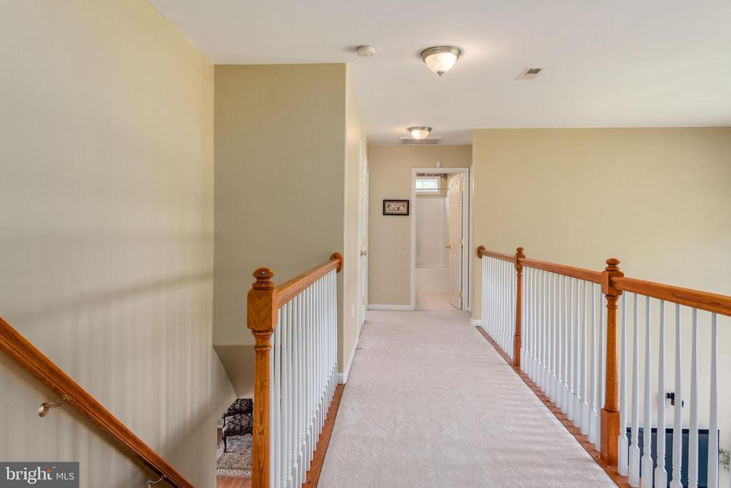 Upper level hallway balcony overlooking family rm - 51 RIVER RIDGE LN, FREDERICKSBURG