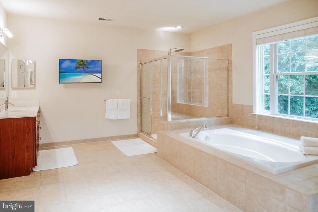 Master bathroom w/ 2 vanities & XL soaking tub - 4617 HOLIDAY LN, FAIRFAX