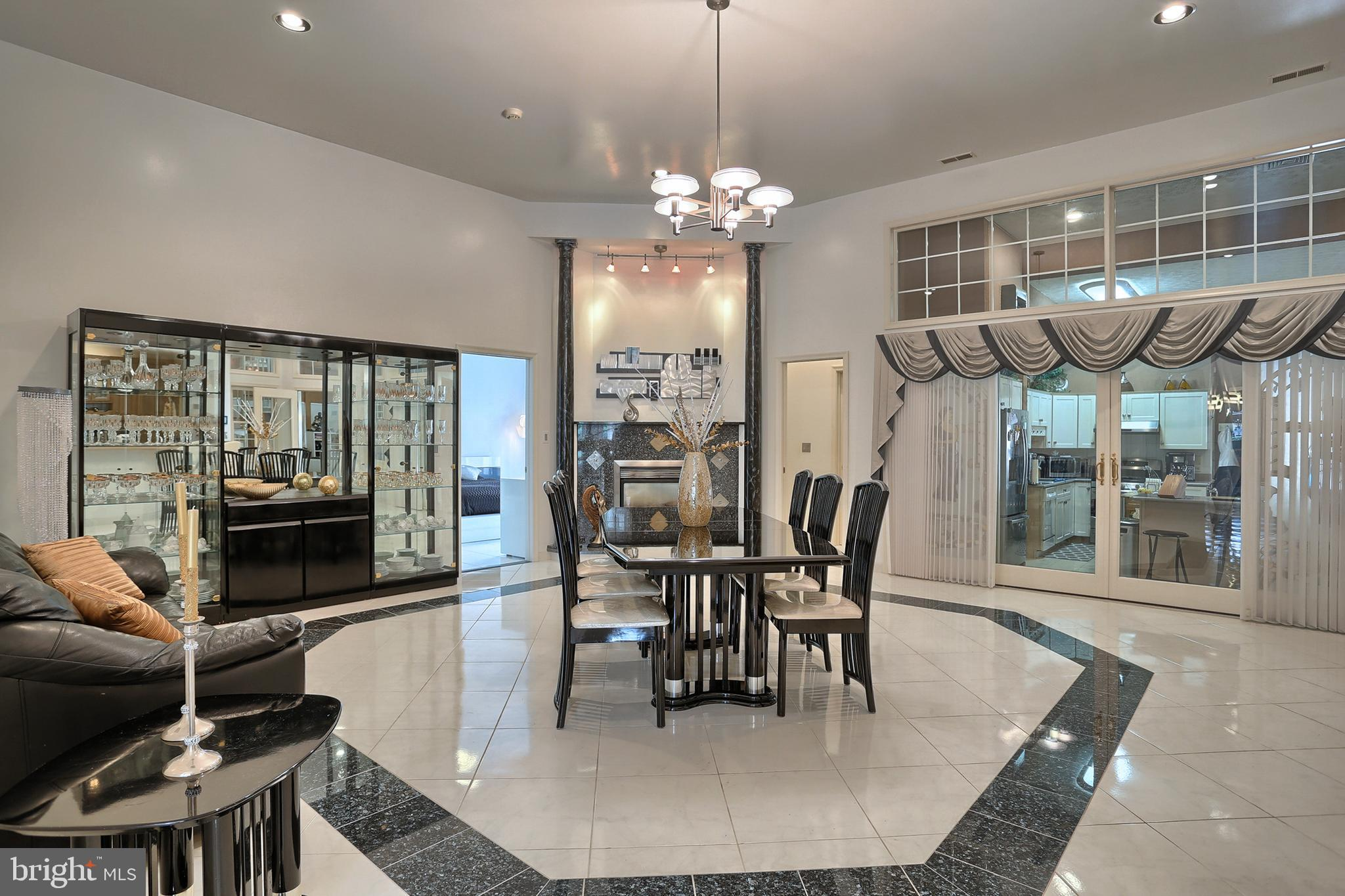 with 14' high ceilings