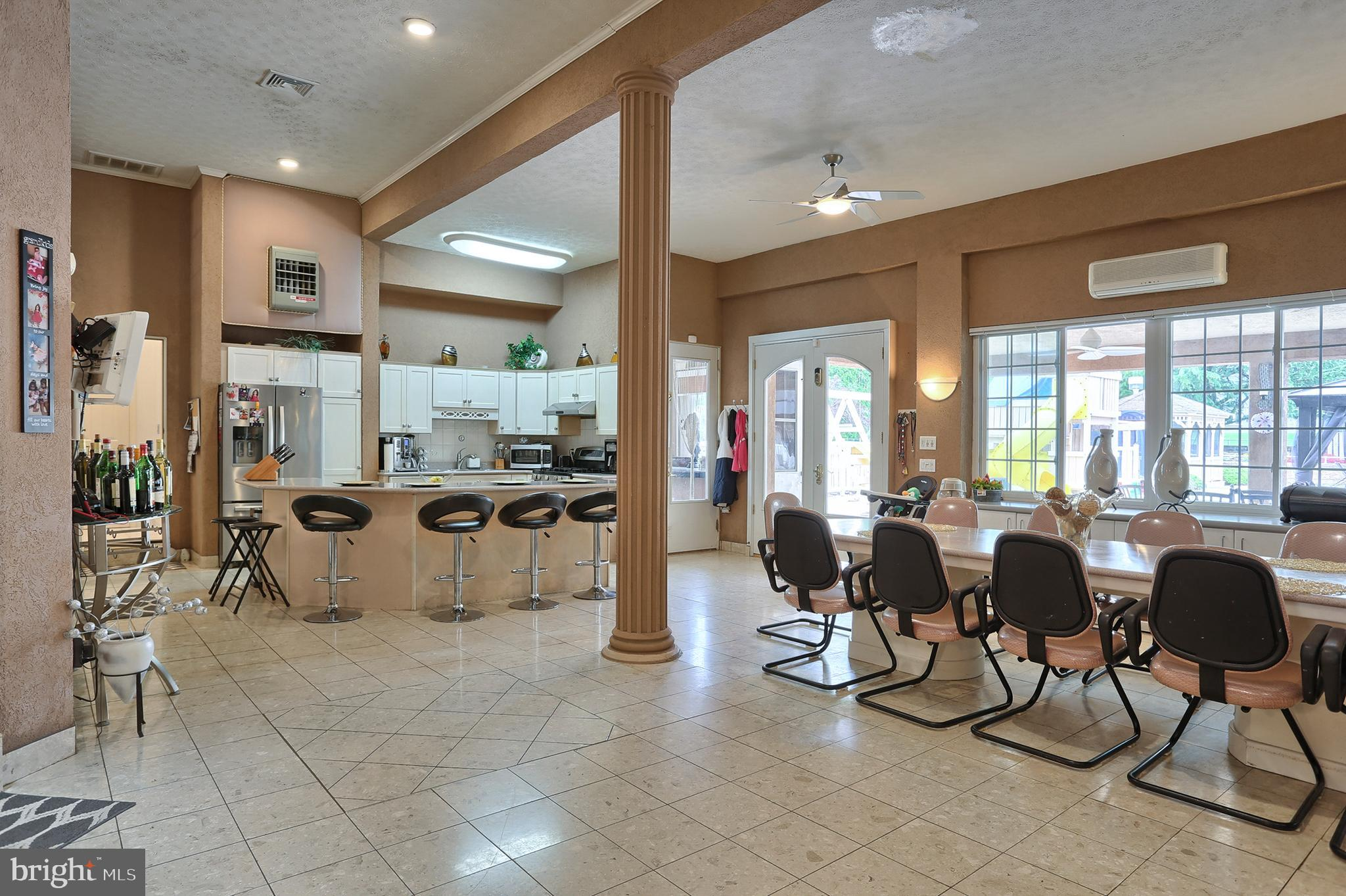 Botticino flooring in family room and kitchen # 2