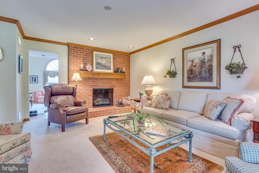 Family room w/ wood burning stone fireplace - 803 HORIZON WAY, MARTINSBURG