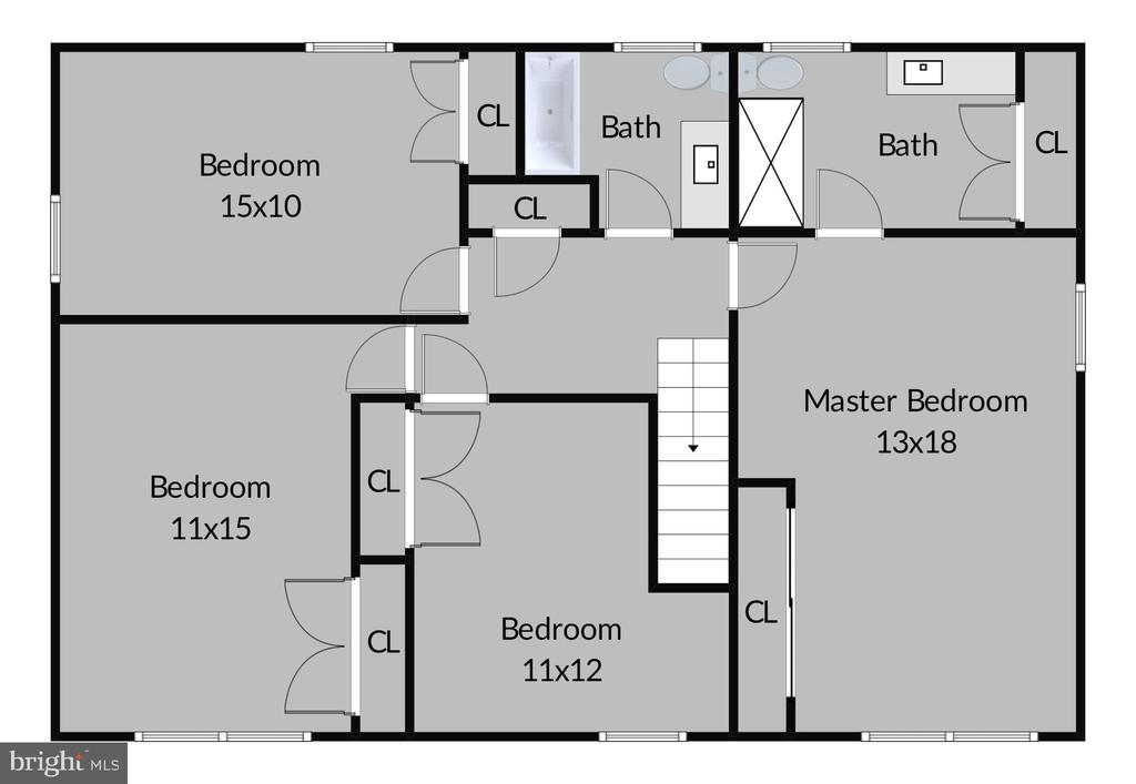 Upper Level Floor Plan - 2430 CARON LN, FALLS CHURCH