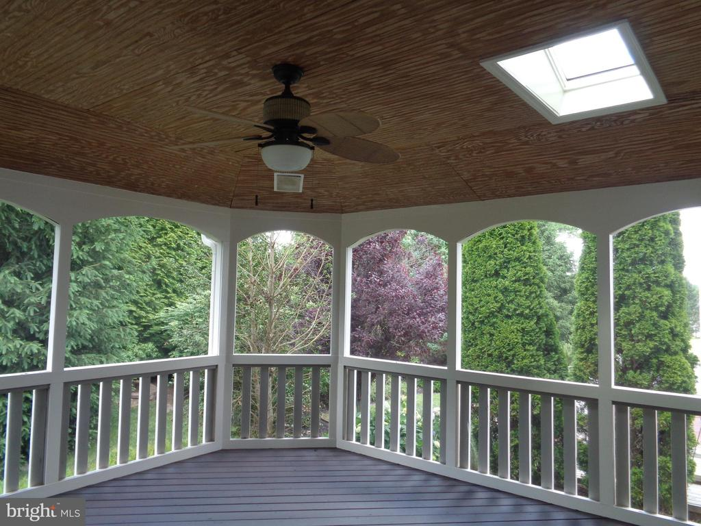 Skylight and Ceiling fan accent the Screened Porch - 4524 MOSSER MILL CT, WOODBRIDGE