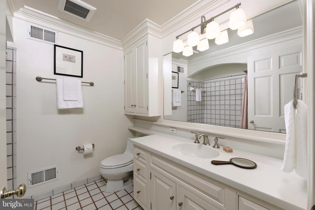 A white guest hall bath offers great lighting - 639 S SAINT ASAPH ST, ALEXANDRIA