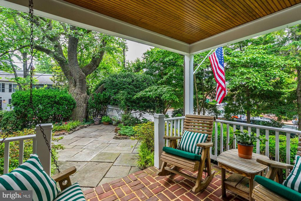 Porch with bead-board ceiling overlooks the garden - 639 S SAINT ASAPH ST, ALEXANDRIA
