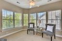Sitting area with two walls of windows and fan - 206 ROSE PETAL WAY, ROCKVILLE