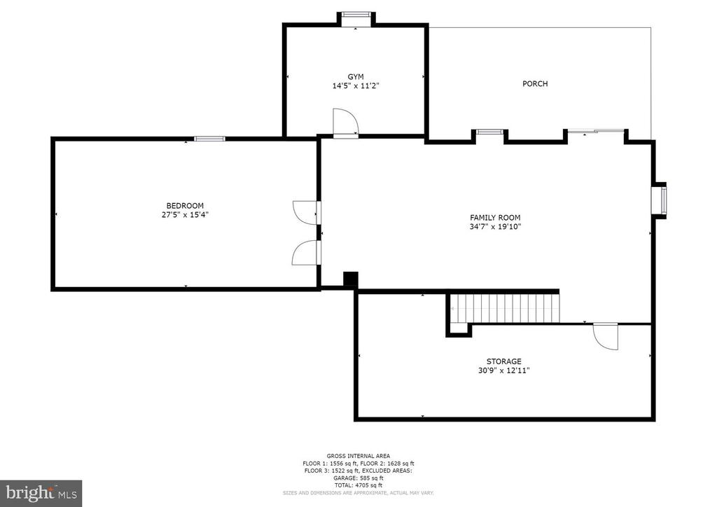 Basement flr plan - bath bedrm & rec rm - 2995 GREENBRIAR DR, STAFFORD