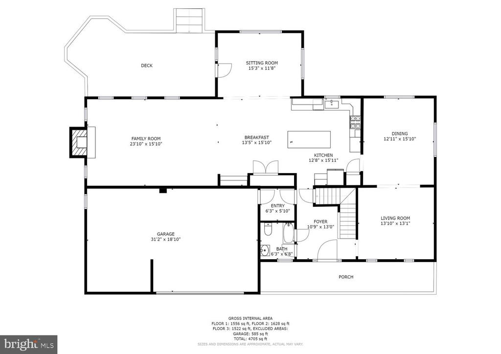 Schematic for Main Level - 2995 GREENBRIAR DR, STAFFORD