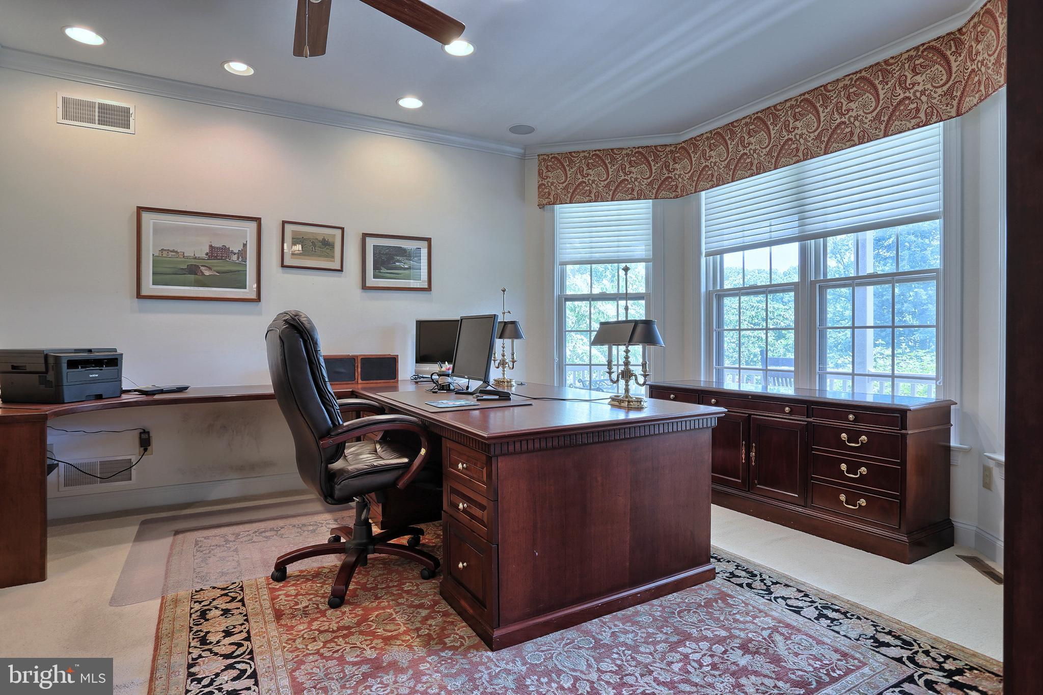 Office area - custom desk and double pocket doors