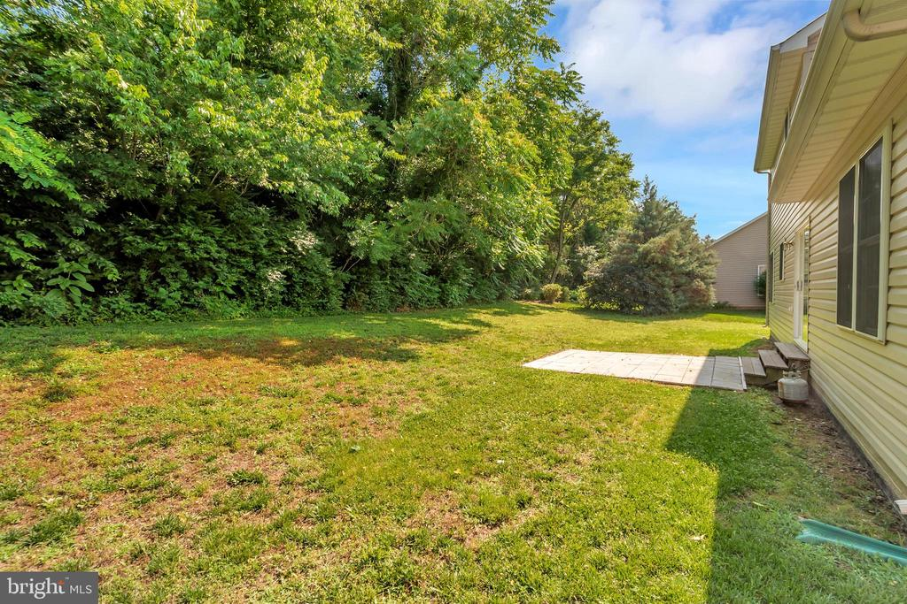 Flat Rear Yard with Patio Backing to Trees - 175 ROPER DR, BOWLING GREEN