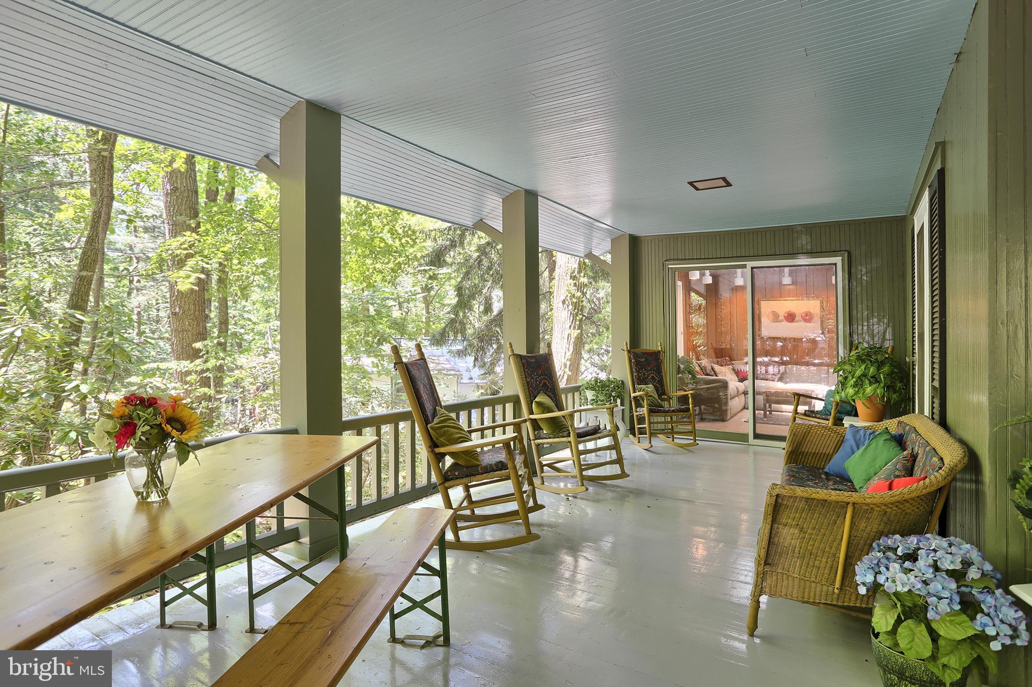 View of porch toward living room sliding doors