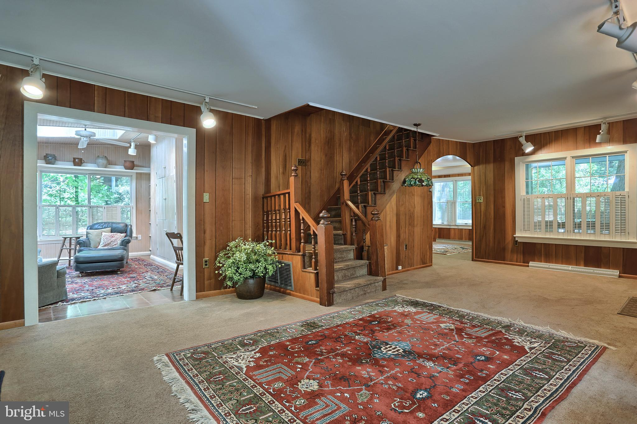 Toward Family room and open stairway