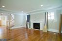 family room fireplace and cantered ceiling - 2320 N VERNON ST, ARLINGTON